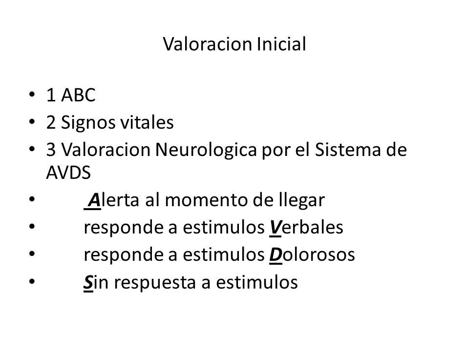 Valoracion Inicial1 ABC. 2 Signos vitales. 3 Valoracion Neurologica por el Sistema de AVDS. Alerta al momento de llegar.