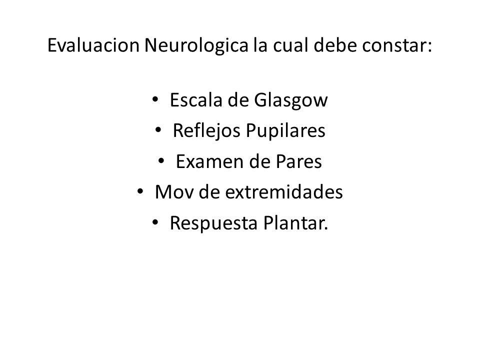 Evaluacion Neurologica la cual debe constar: