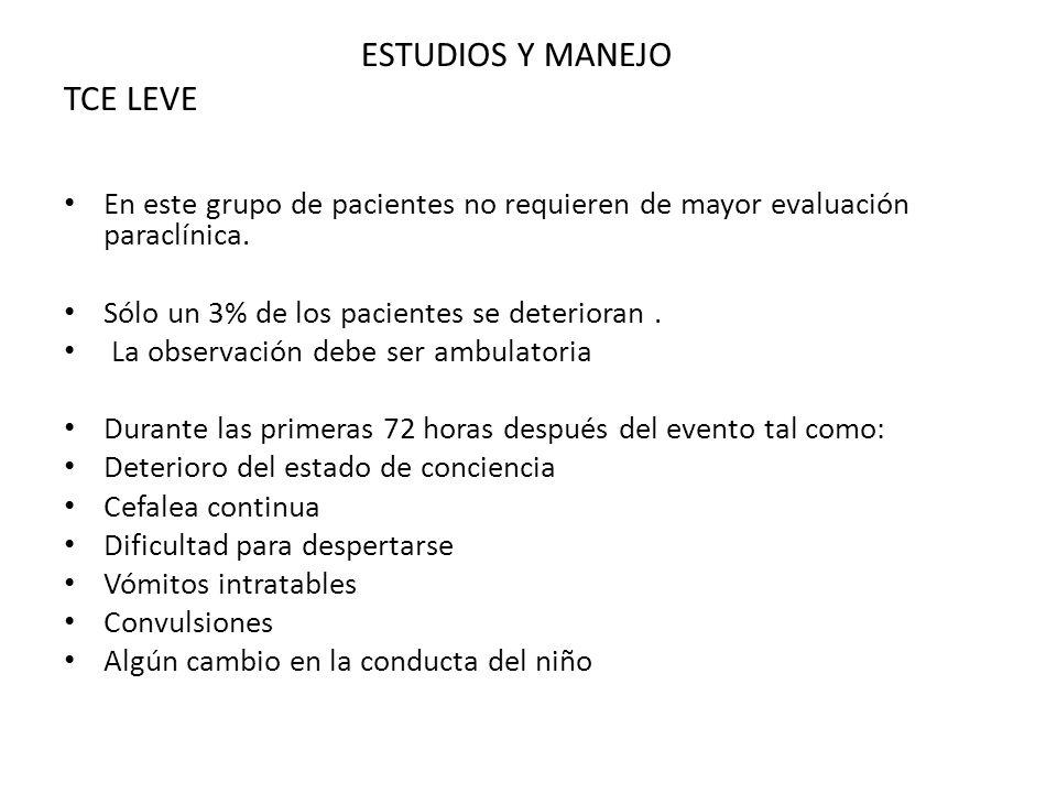 ESTUDIOS Y MANEJO TCE LEVE