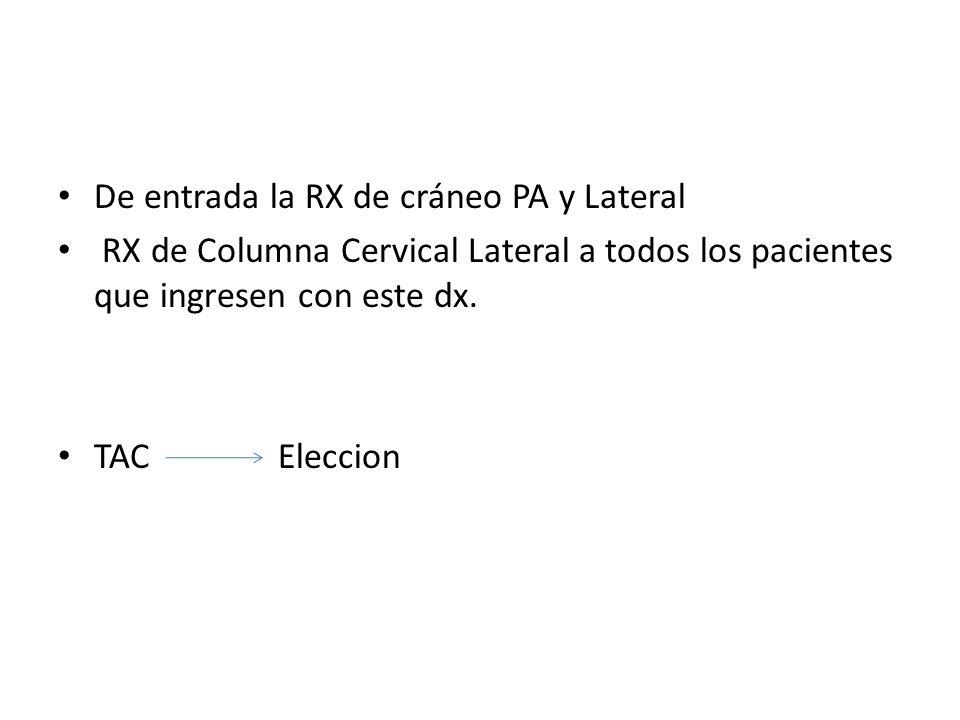 De entrada la RX de cráneo PA y Lateral