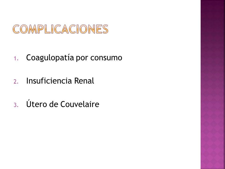 Complicaciones Coagulopatía por consumo Insuficiencia Renal