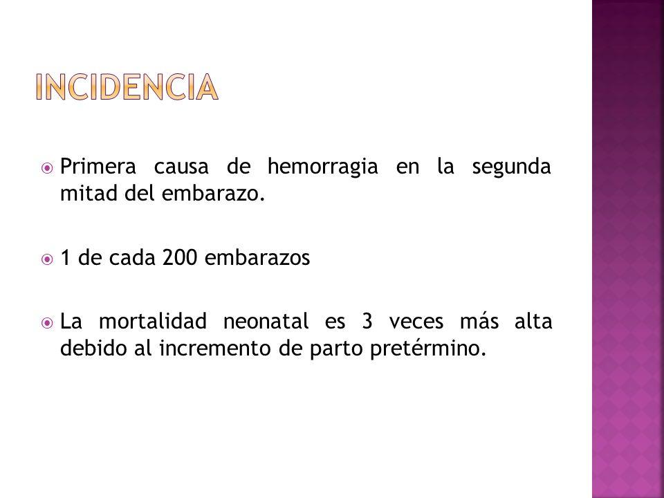 INCIDENCIA Primera causa de hemorragia en la segunda mitad del embarazo. 1 de cada 200 embarazos.
