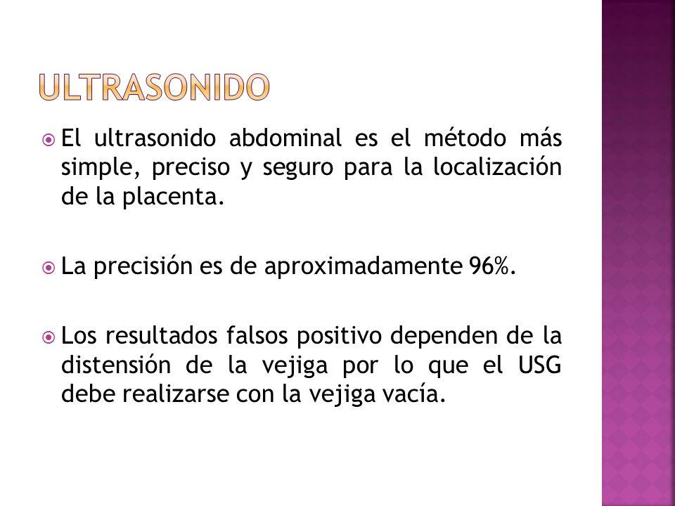 ultrasonidoEl ultrasonido abdominal es el método más simple, preciso y seguro para la localización de la placenta.