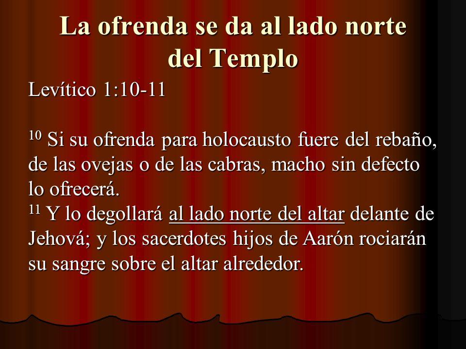 La ofrenda se da al lado norte del Templo
