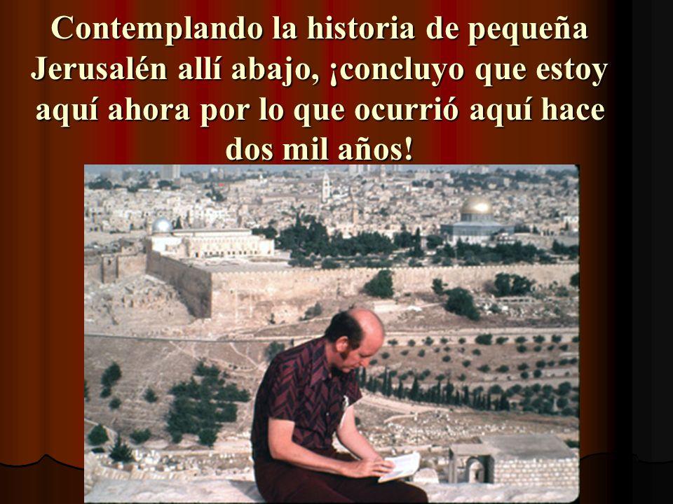 Contemplando la historia de pequeña Jerusalén allí abajo, ¡concluyo que estoy aquí ahora por lo que ocurrió aquí hace dos mil años!