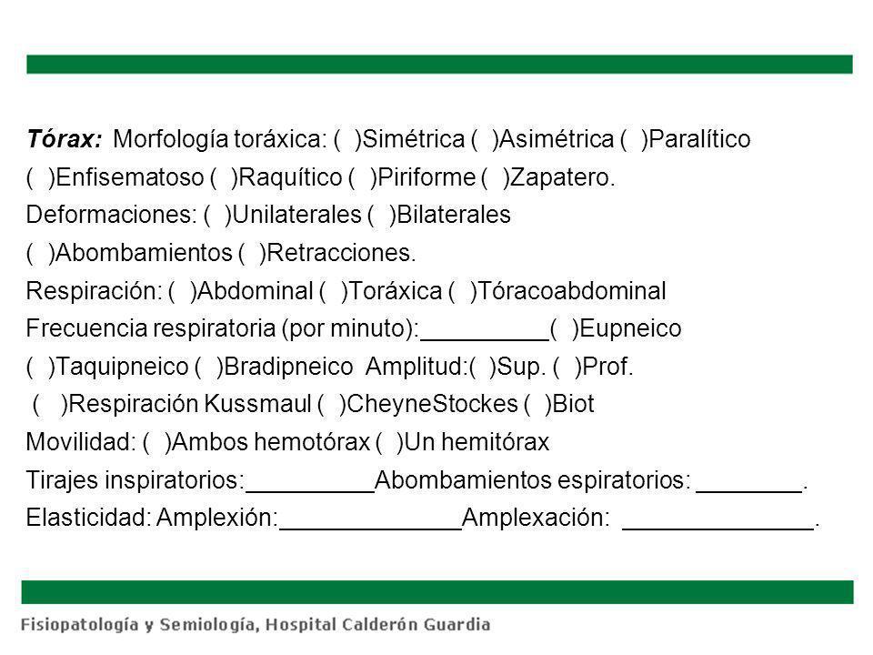 Tórax: Morfología toráxica: ( )Simétrica ( )Asimétrica ( )Paralítico ( )Enfisematoso ( )Raquítico ( )Piriforme ( )Zapatero.