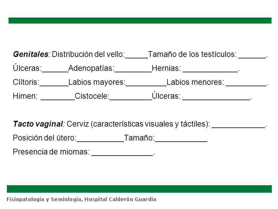 Genitales: Distribución del vello: Tamaño de los testículos:. Úlceras: