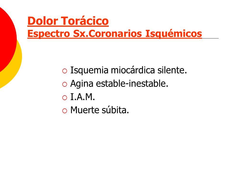 Dolor Torácico Espectro Sx.Coronarios Isquémicos