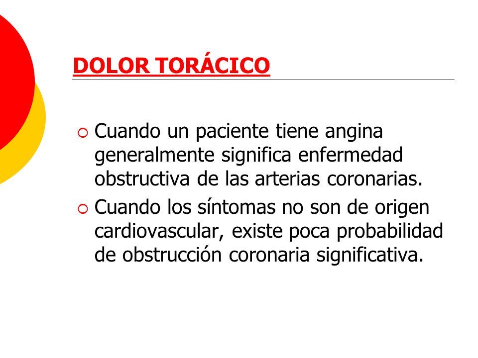 DOLOR TORÁCICO Cuando un paciente tiene angina generalmente significa enfermedad obstructiva de las arterias coronarias.