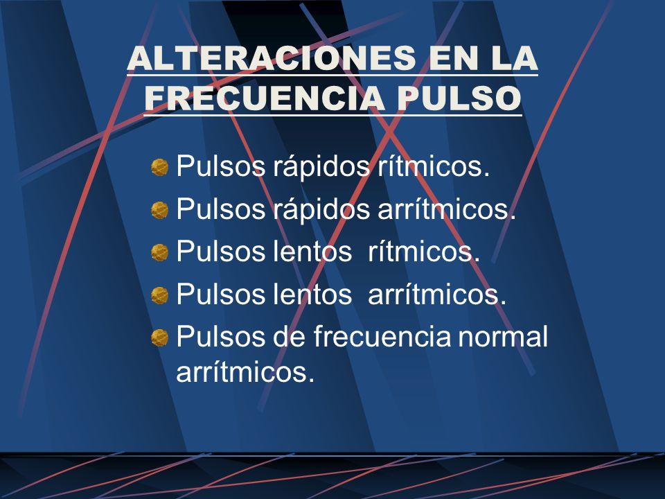 ALTERACIONES EN LA FRECUENCIA PULSO