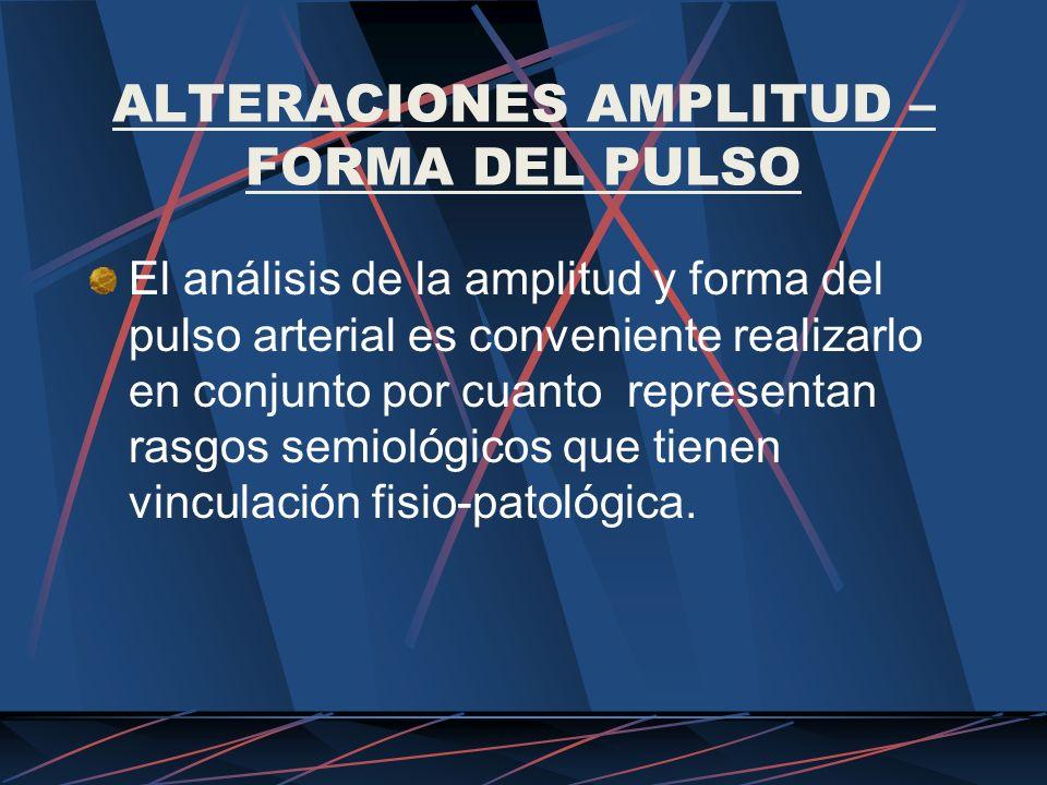 ALTERACIONES AMPLITUD – FORMA DEL PULSO