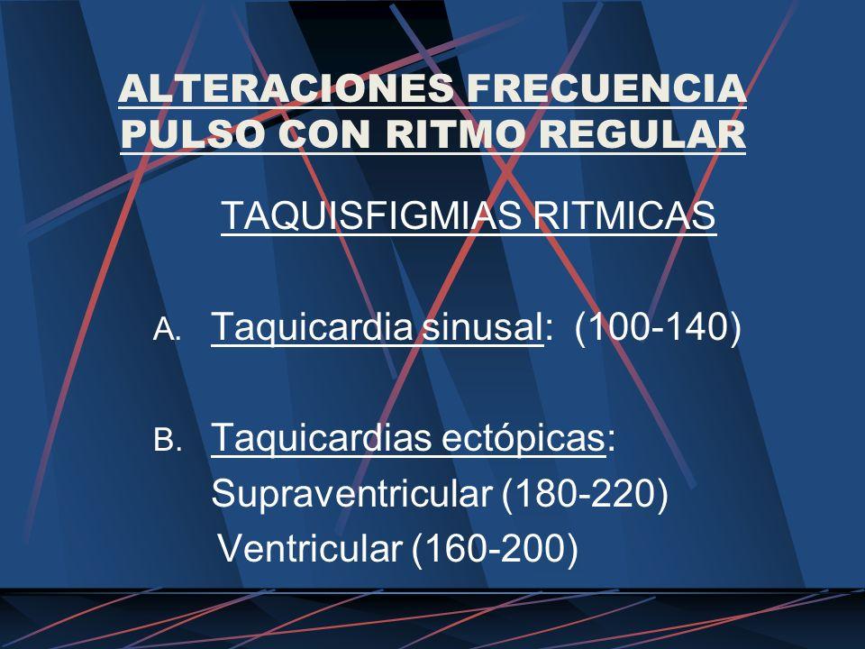 ALTERACIONES FRECUENCIA PULSO CON RITMO REGULAR