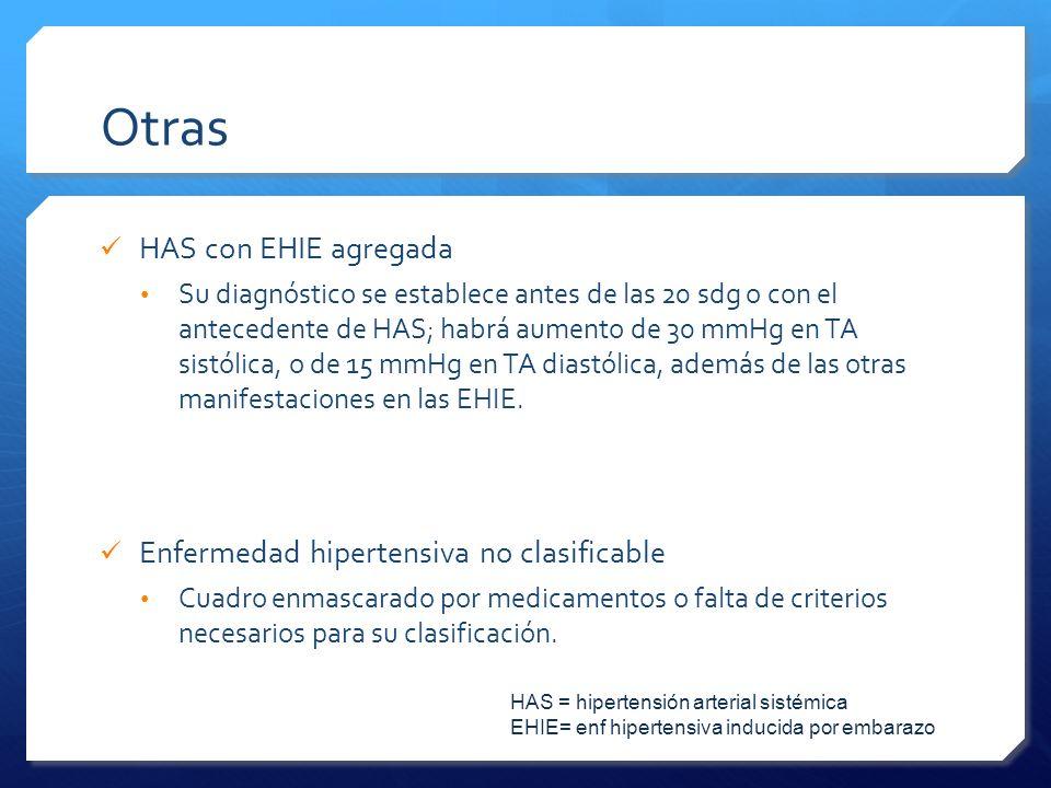 Otras HAS con EHIE agregada Enfermedad hipertensiva no clasificable