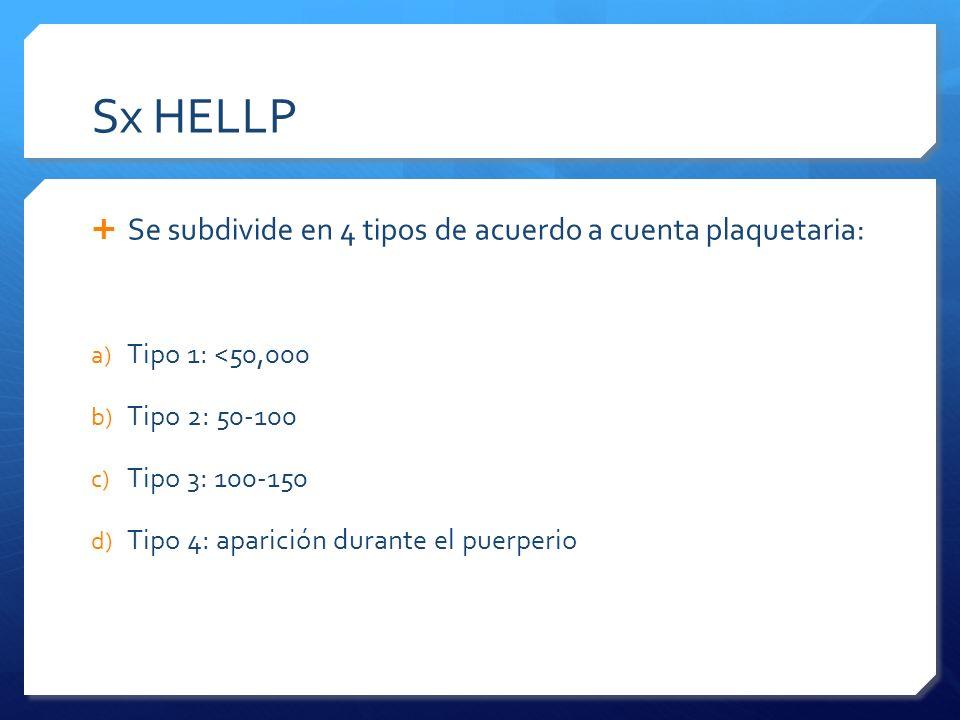 Sx HELLP Se subdivide en 4 tipos de acuerdo a cuenta plaquetaria:
