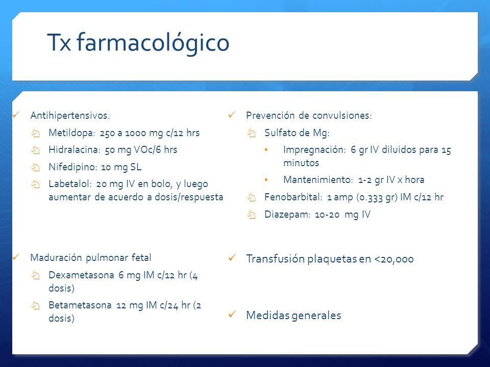 Tx farmacológico Transfusión plaquetas en <20,000 Medidas generales