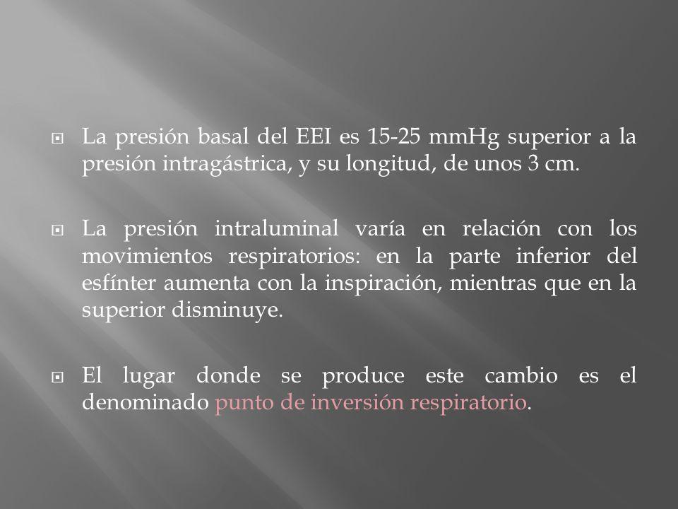 La presión basal del EEI es 15-25 mmHg superior a la presión intragástrica, y su longitud, de unos 3 cm.