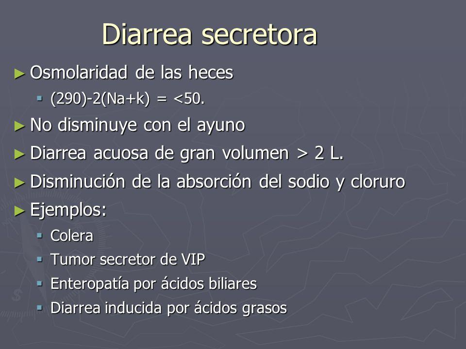 Diarrea secretora Osmolaridad de las heces No disminuye con el ayuno