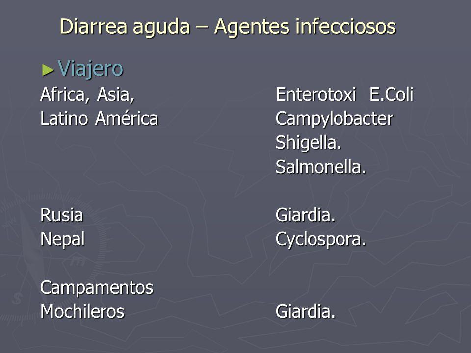 Diarrea aguda – Agentes infecciosos