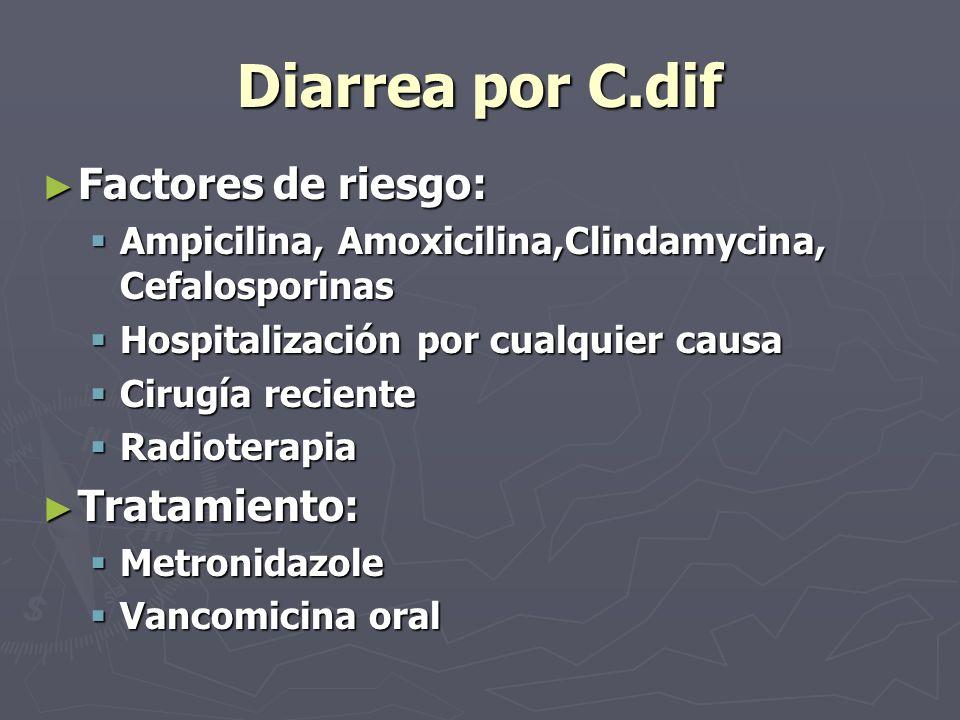 Diarrea por C.dif Factores de riesgo: Tratamiento: