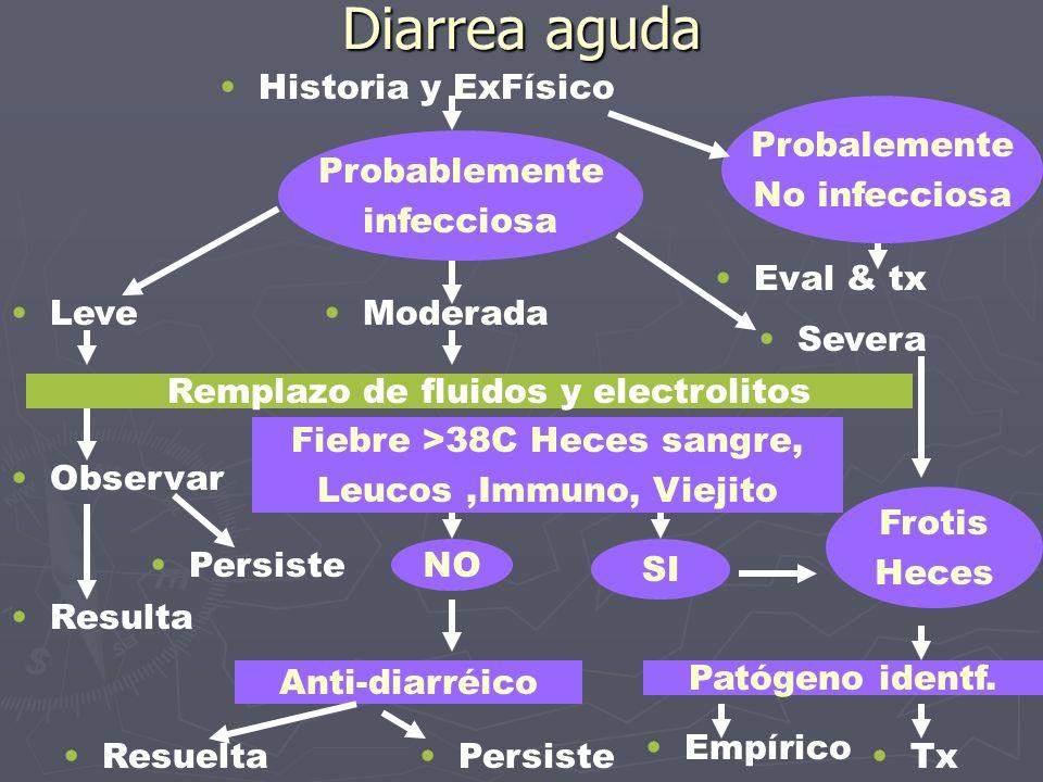 Diarrea aguda Historia y ExFísico Probalemente No infecciosa