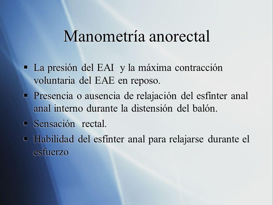 Manometría anorectal La presión del EAI y la máxima contracción voluntaria del EAE en reposo.