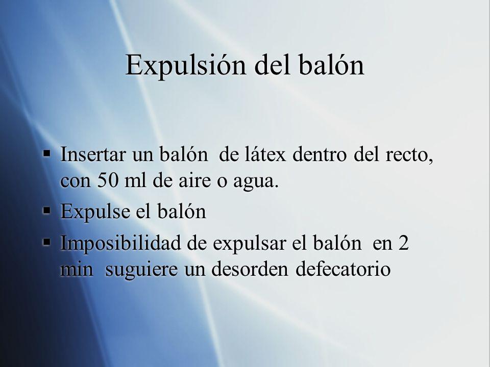 Expulsión del balón Insertar un balón de látex dentro del recto, con 50 ml de aire o agua. Expulse el balón.