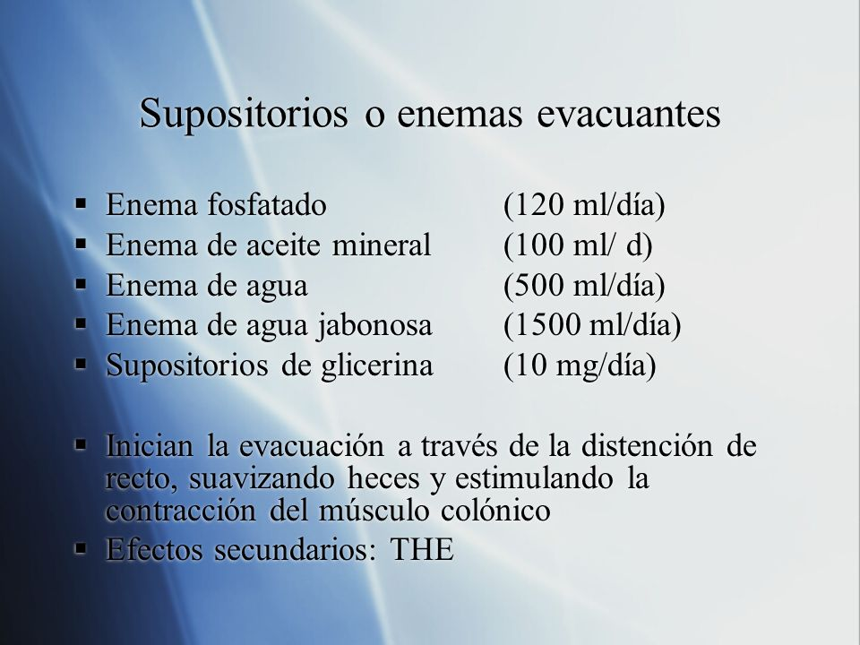 Supositorios o enemas evacuantes