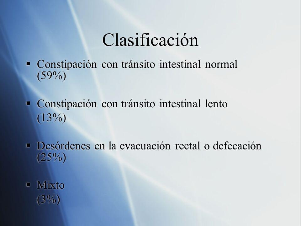 Clasificación Constipación con tránsito intestinal normal (59%)