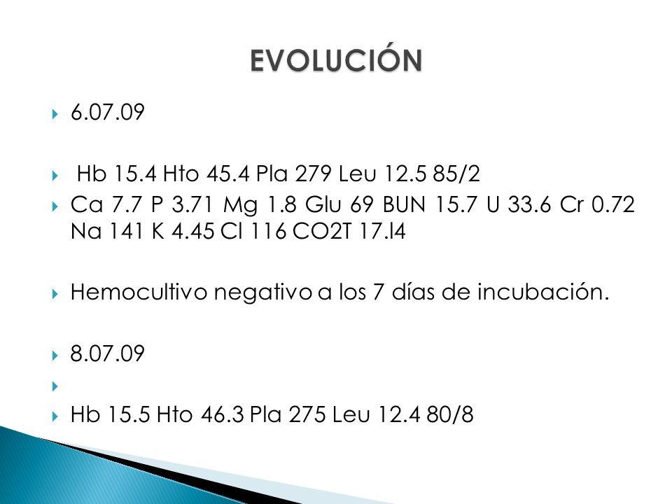 EVOLUCIÓN 6.07.09 Hb 15.4 Hto 45.4 Pla 279 Leu 12.5 85/2