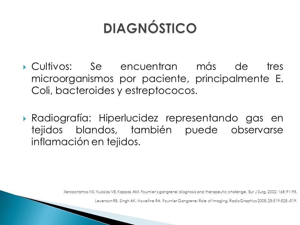 DIAGNÓSTICO Cultivos: Se encuentran más de tres microorganismos por paciente, principalmente E. Coli, bacteroides y estreptococos.