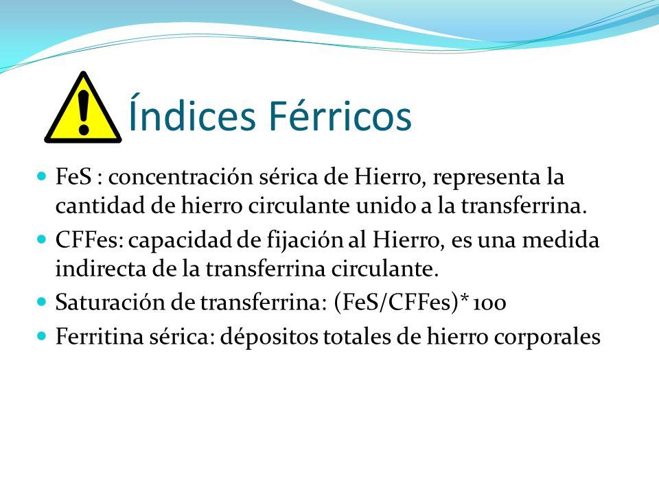 Índices Férricos FeS : concentración sérica de Hierro, representa la cantidad de hierro circulante unido a la transferrina.