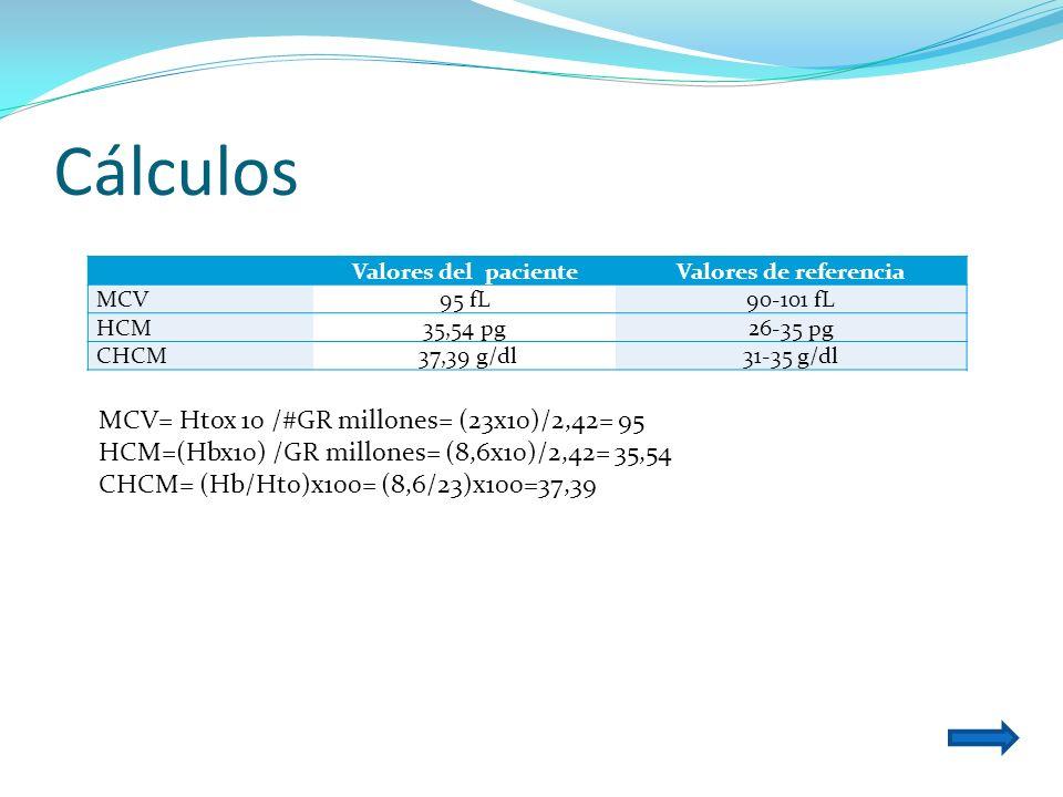Cálculos MCV= Htox 10 /#GR millones= (23x10)/2,42= 95