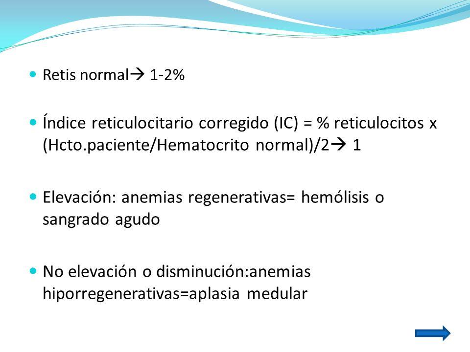 Elevación: anemias regenerativas= hemólisis o sangrado agudo