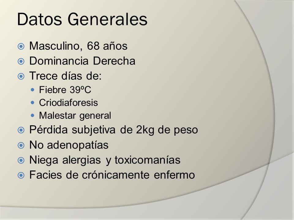 Datos Generales Masculino, 68 años Dominancia Derecha Trece días de: