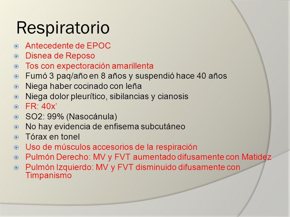 Respiratorio Antecedente de EPOC Disnea de Reposo
