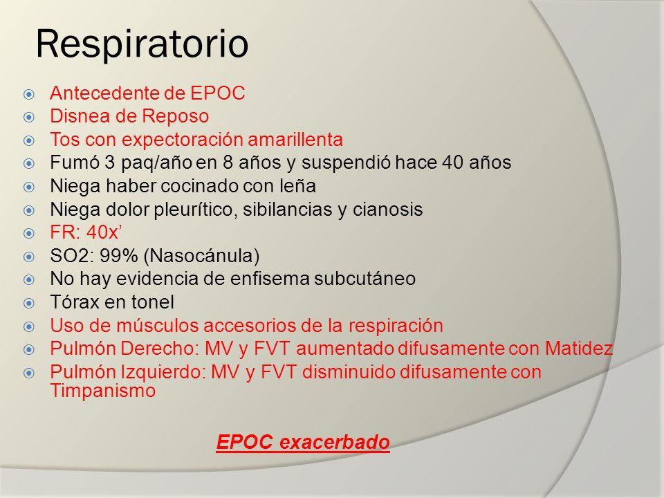 Respiratorio EPOC exacerbado Antecedente de EPOC Disnea de Reposo