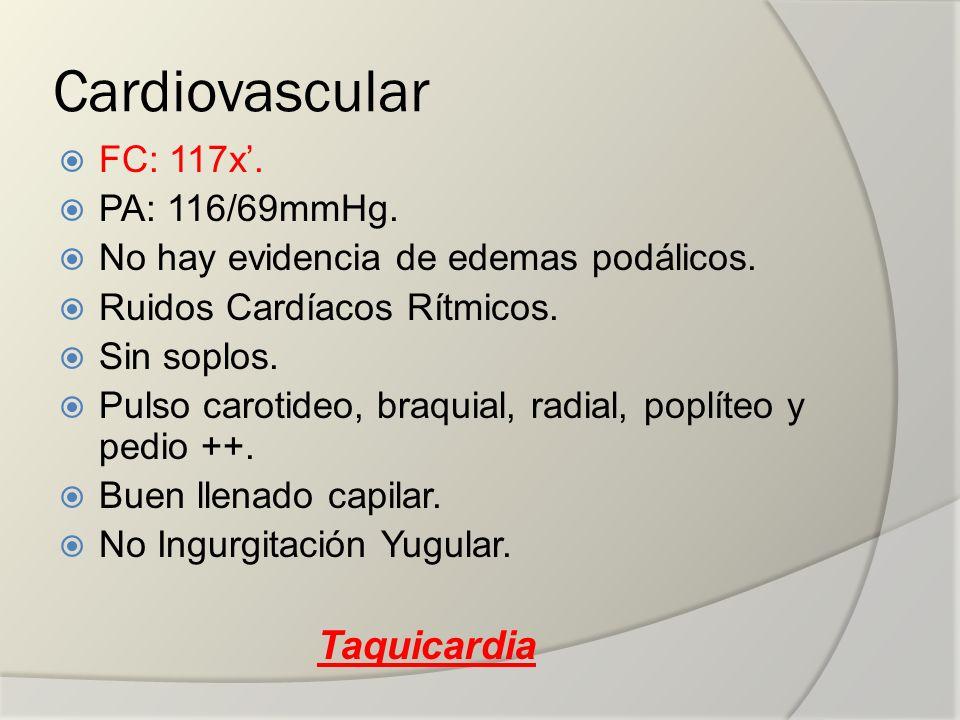 Cardiovascular Taquicardia FC: 117x'. PA: 116/69mmHg.