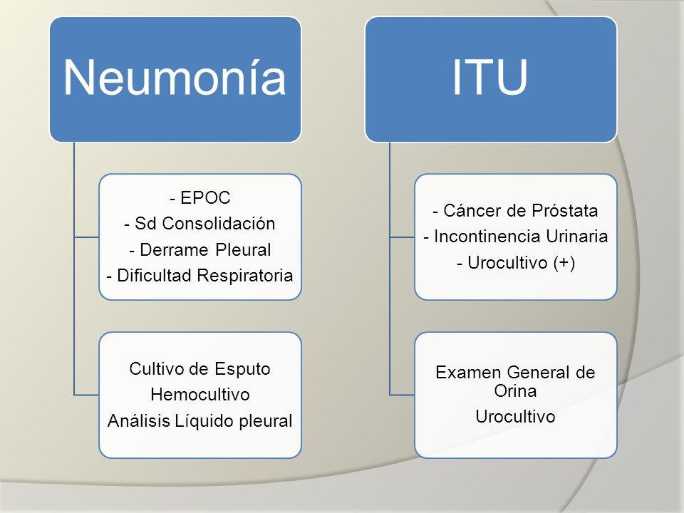 Neumonía ITU - EPOC - Cáncer de Próstata - Sd Consolidación