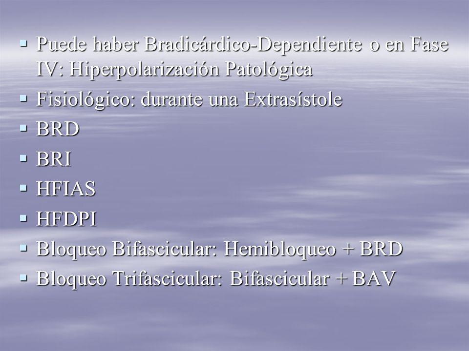Puede haber Bradicárdico-Dependiente o en Fase IV: Hiperpolarización Patológica