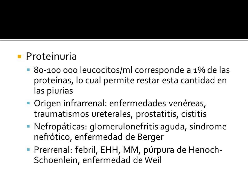 Proteinuria 80-100 000 leucocitos/ml corresponde a 1% de las proteínas, lo cual permite restar esta cantidad en las piurias.