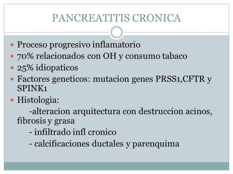 PANCREATITIS CRONICA Proceso progresivo inflamatorio