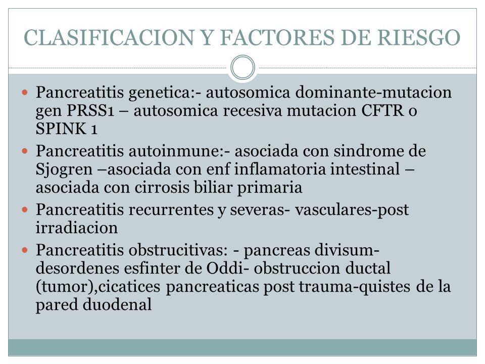 CLASIFICACION Y FACTORES DE RIESGO