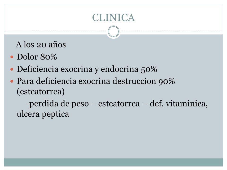 CLINICA A los 20 años Dolor 80% Deficiencia exocrina y endocrina 50%