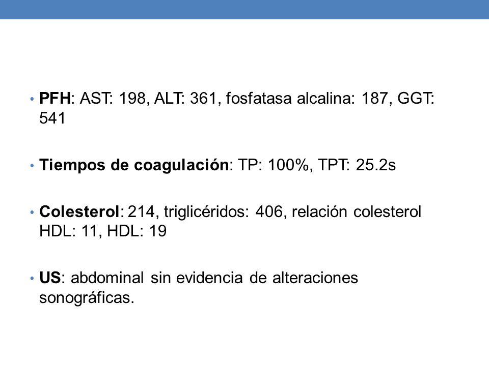 PFH: AST: 198, ALT: 361, fosfatasa alcalina: 187, GGT: 541