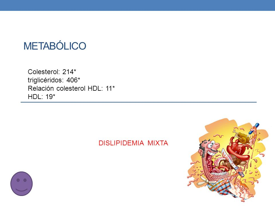 Metabólico Colesterol: 214* triglicéridos: 406*