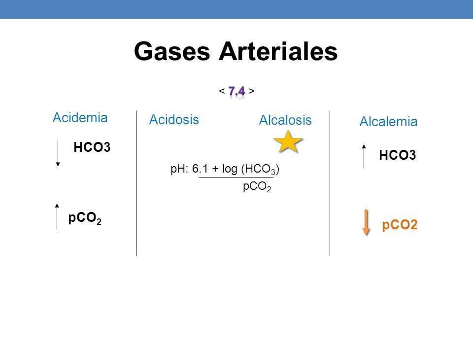 Gases Arteriales pCO2 pCO2 Acidemia Acidosis Alcalosis Alcalemia HCO3
