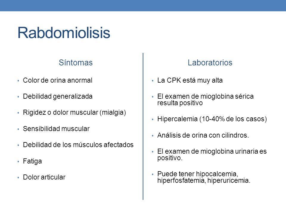 Rabdomiolisis Síntomas Laboratorios Color de orina anormal