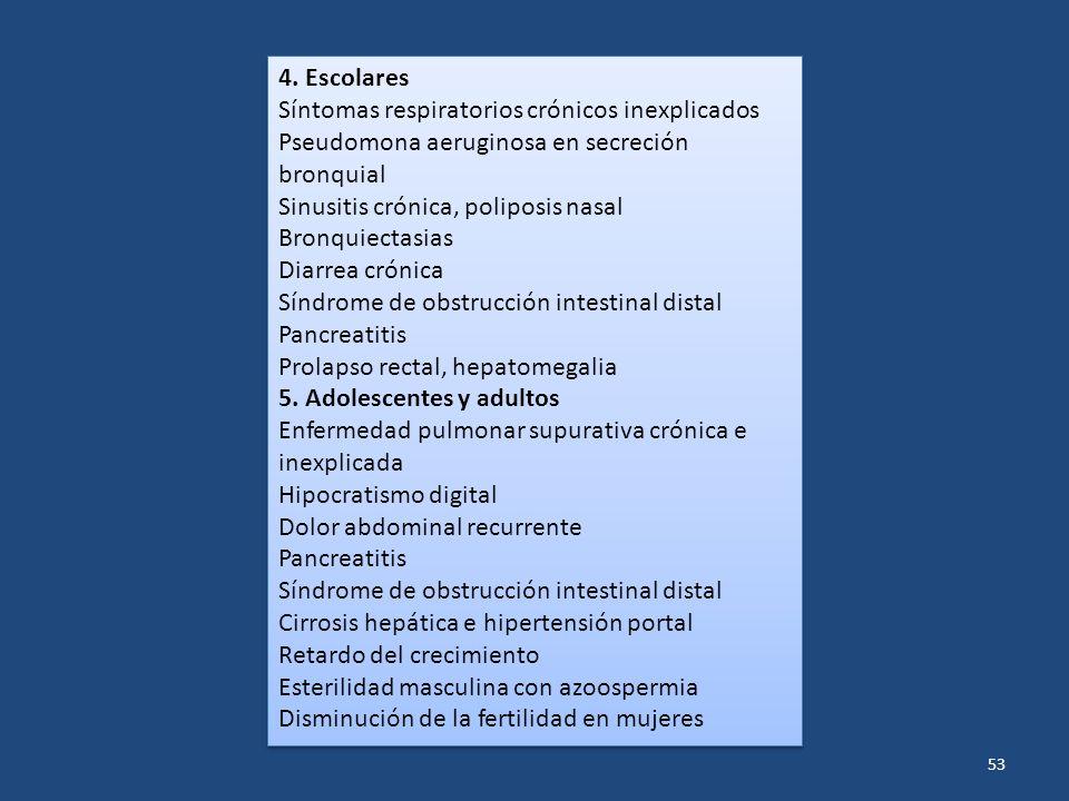 4. Escolares Síntomas respiratorios crónicos inexplicados. Pseudomona aeruginosa en secreción bronquial.
