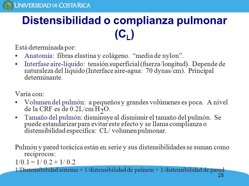 Distensibilidad o complianza pulmonar (CL)