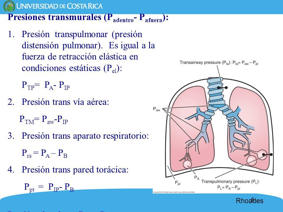 Presiones transmurales (Padentro- Pafuera):